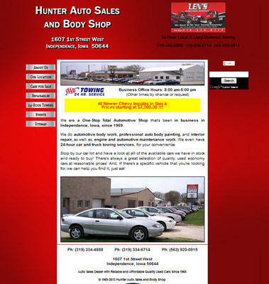 Hunter Auto Sales and Body Shop sells quality used Chevy Cavaliers in Independence, Iowa. Also, available are Chevrolet Car Parts new or used.  Len's Towing and 24 hour Wrecker Services are available in IA.