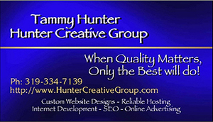 Custom Business Cards for Hunter Creative Group.