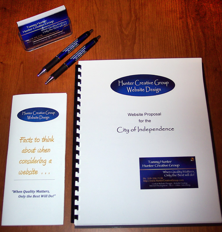 Custom designed promotional items - pens, business cards, tri-fold brochures, proposals, manuals