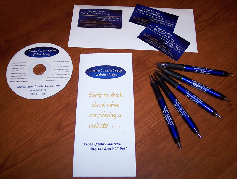 Custom designed promotional items - cds, dvds,pens, brochures, business cards