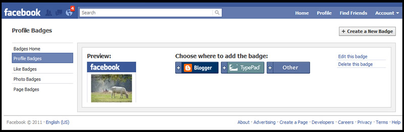 Add Facebook Website Badge to Website