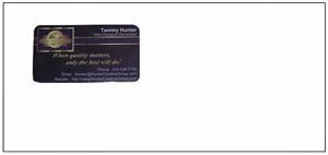Business Card Envelopes with a window in the return address area make advertising Easy!