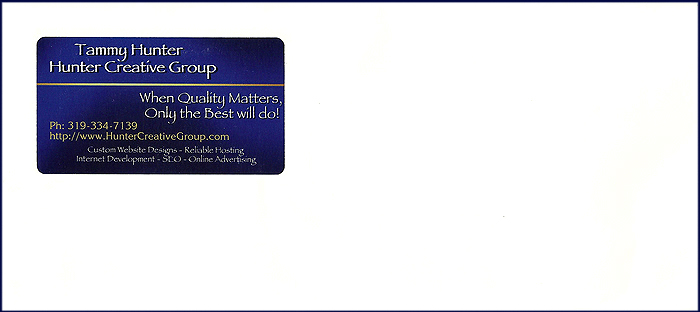 Business Card Envelopes with Window Pocket for Business Cards in Return Address Area.